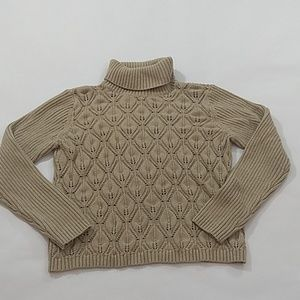 Liz Claiborne Tan Turtleneck Sweater Lacy Front L
